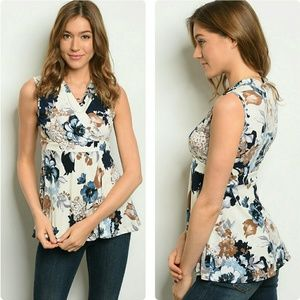 Tops - Floral faux wrap surplice sleeveless top